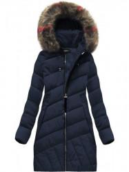 Diagonálne prešívaná zimná bunda BH-1849 tmavomodrá