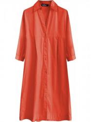 Dlhá bavlnená košeľa (X1033X), červená