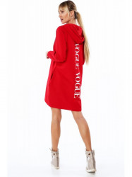 Dlhá dámska mikina s nápisom vzadu, červená 2283
