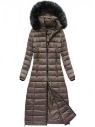 Dlhá dámska zimná bunda 7758, hnedá #5