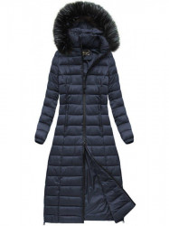 Dlhá dámska zimná bunda 7758, tmavo modrá