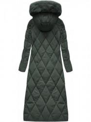 Dlhá zimná bunda s kapucňou a kožušinou 7688 zelená #1