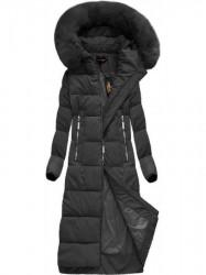 Dlhá zimná bunda s kapucňou a kožušinou 7688BIG čierna