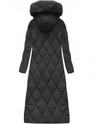 Dlhá zimná bunda s kapucňou a kožušinou 7688BIG čierna #1