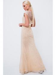 Dlhé šaty so vzormi G5034, béžové