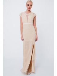 Dlhé šaty so vzormi G5034, béžové #1