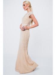 Dlhé šaty so vzormi G5034, béžové #3