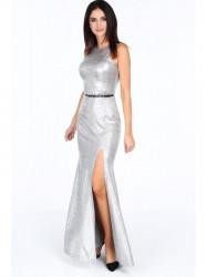 Dlhé večerné šaty s rázporkom G5289 strieborné