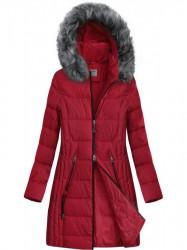 Dlhšia prešívaná zimná bunda B9501 červená