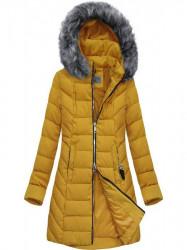 Dlhšia zimná bunda s kapucňou B2645 žltá