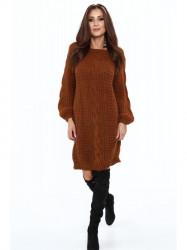 Dlhý pletený sveter 509 hnedý