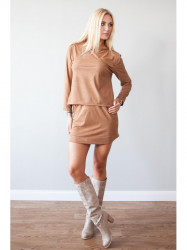 Elegantná, karamelová súprava topu a sukne