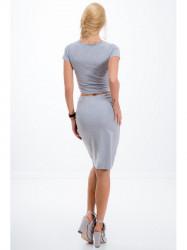 Elegantná sivá zostava sukne a croptopu
