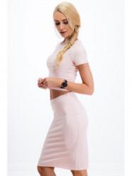 Elegantná svetloružová zostava sukne a croptopu