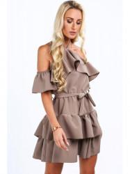 Elegantné dámske šaty s volánmi 0262, hnedé