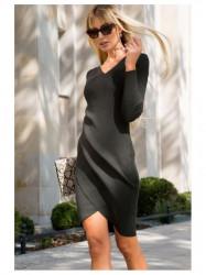 Elegantné prekladané šaty 87634 tmavozelené
