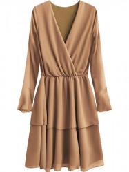Elegantné šaty s preloženým výstrihom 450ART béžové