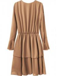 Elegantné šaty s preloženým výstrihom 450ART béžové #1