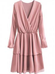 Elegantné šaty s preloženým výstrihom 450ART ružové