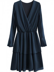 Elegantné šaty s preloženým výstrihom 450ART tmavomodré