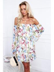 Farebné dámske šaty s odhalenými ramenami 5270