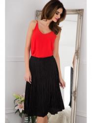 Flisová čierna midi sukňa