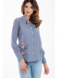 Granátová kockovaná košeľa 21275