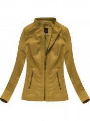 Horčicová kožená bunda 5374