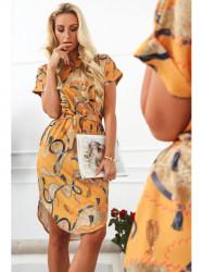 Horčicové dámske elegantné šaty 20610