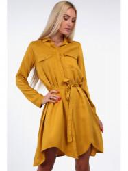 Horčicové dámske košeľové šaty 19590