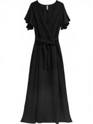 Jednoduché maxi šaty s viazaním v páse 360ART čierne