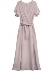 Jednoduché maxi šaty s viazaním v páse 360ART ružové