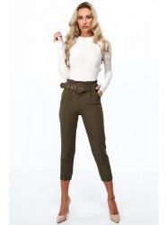 Khaki dámske elegantné nohavice 0273