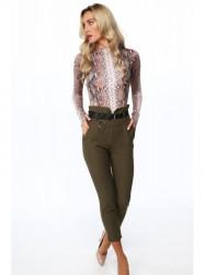 Khaki elegantné dámske nohavice 0272