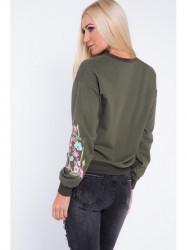 Khaki mikina s kvetmi