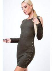 Khaki šaty s odhalenými ramenami 6647