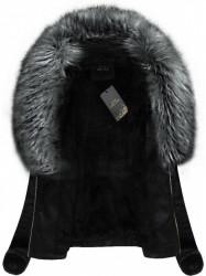 Kožená bunda so sivou kožušinou (5517)