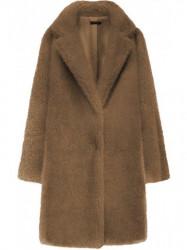 Kožušinový kabát s vreckami 461ART hnedý