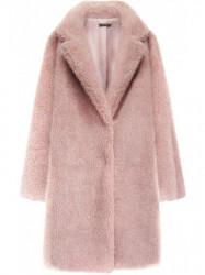Kožušinový kabát s vreckami 461ART ružový