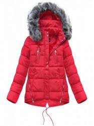 Krátka asymetrická zimná bunda YB917, červená