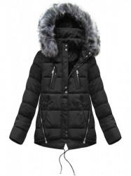 Krátka asymetrická zimná bunda YB917, čierna