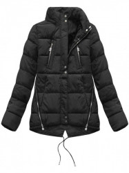 Krátka asymetrická zimná bunda YB917, čierna #5