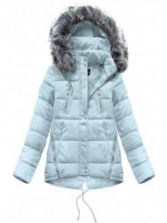 Krátka asymetrická zimná bunda YB917, svetlo modrá