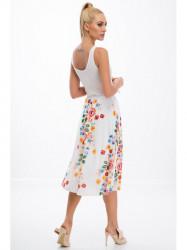 Krémová sukňa s kvetinami