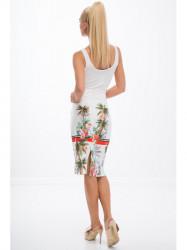 Krémová vzorovaná sukňa