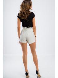 Krémové elegantné krátke nohavice
