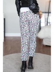 Krémové nohavice s farebnými vzormi