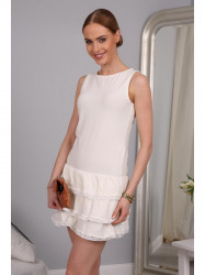 Krémové šaty s vrstvenou sukňou f6bddc5b5bc