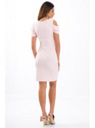 Lososové elastické šaty s odhalenými ramenami 3556