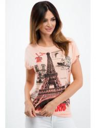 Lososové tričko s aplikáciou